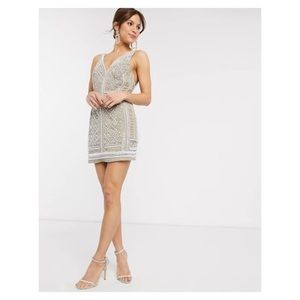 Asos design pearl velvet embellieshed mini dress